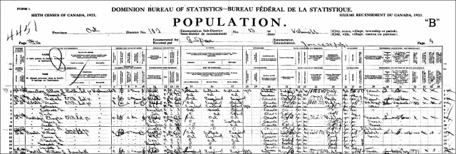 1921 Census - William and Emma Hunter and Family